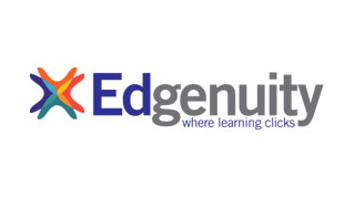 "Edgenuity--""Where learning clicks"" logo"