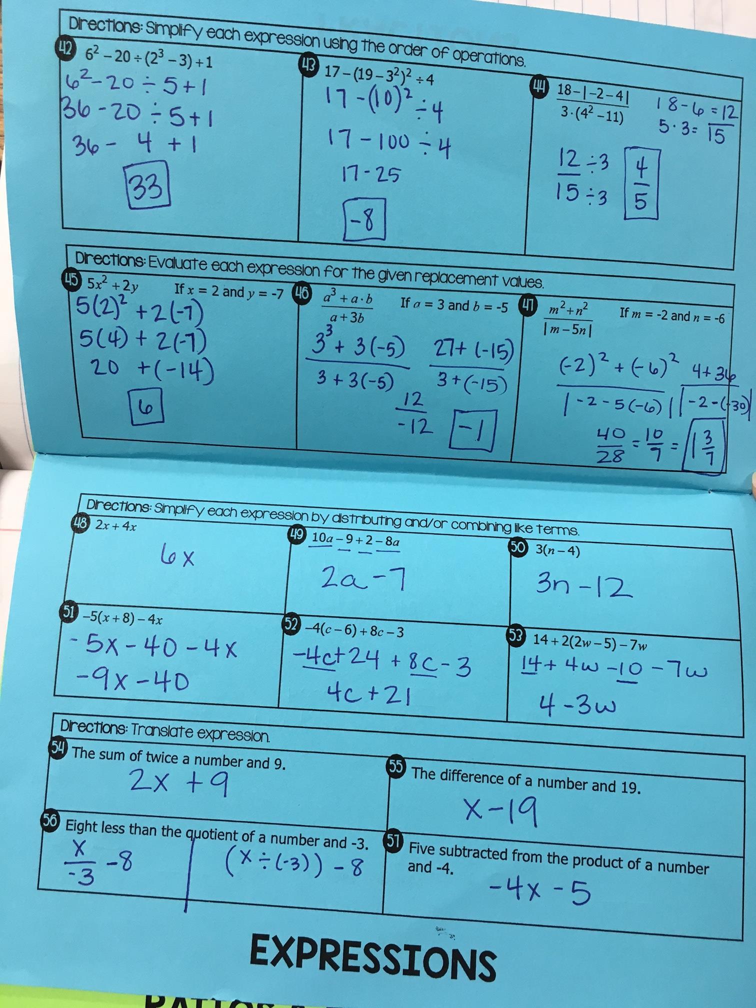 Pre-Algebra Flipbook