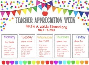 Teacher Appreciation Week for Hattie Watts Elementary. May 4-8, 2020