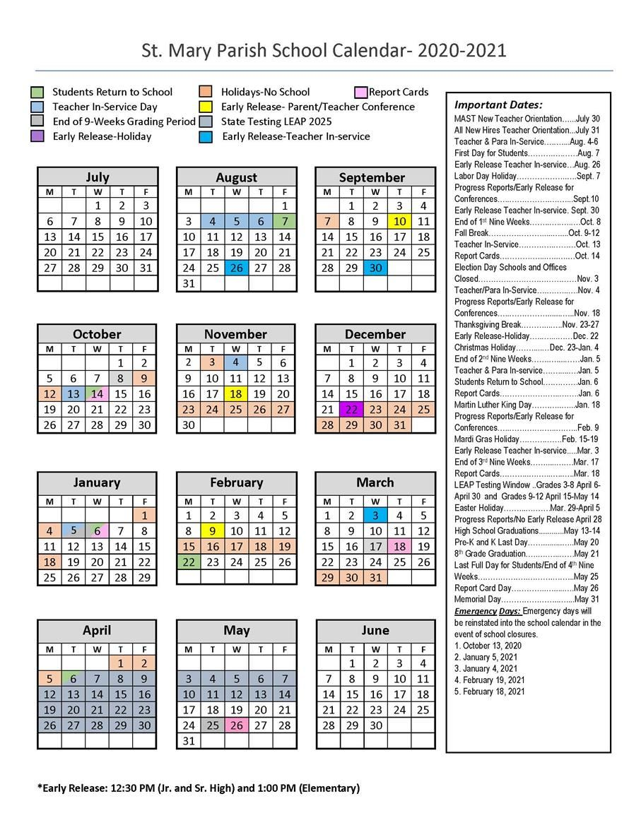 September 2021 School Calendar 2020 2021 School Year Calendar / Calendar 2020 2021